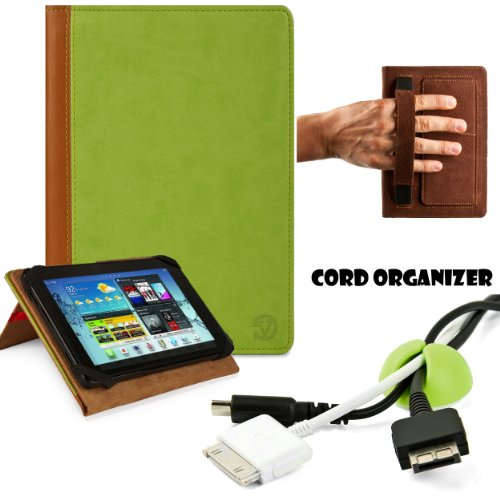 Executive Synthetic Lightweight Portfolio Book Style Cover For Acer Iconia W3-810-1600 8.1 inch Tablet (32 GB)+ GREEN Cord Organizer ()