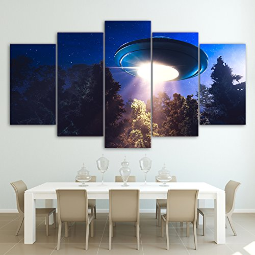 [Medium] Premium Quality Canvas Printed Wall Art Poster 5 Pieces / 5 Pannel Wall Decor UFO Alien spacecraft sky Painting, Home Decor Pictures - With Wooden Frame - Sky Home Decor