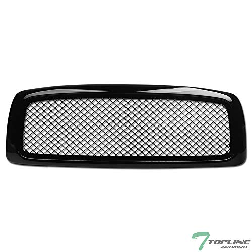 Topline Autopart Glossy Black Mesh Front Hood Bumper Grill Grille ABS For 02-05 Dodge Ram 1500 ; 03-05 2500/3500