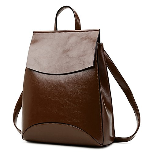 (jvp1088-r1) Lucky Cow Cowhide Leather Backpack Red Wine 3way Shoulder Bag Simple Bag Waterproof Ring Girls Travel To Popular Fashion Cute Dark Brown