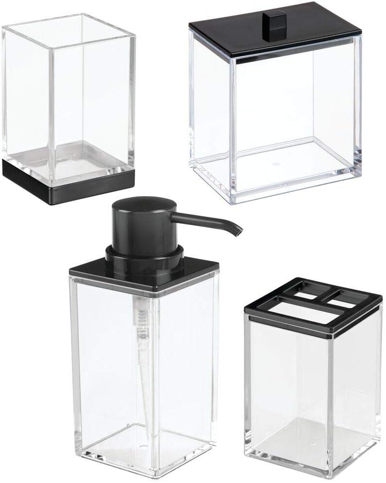 1 contenitore con coperchio e 1 bicchiere Include 1 portaspazzolini Perfetto per bagno padronale o degli ospiti 1 dispenser sapone mDesign Set da 4 accessori bagno elegante trasparente//argento