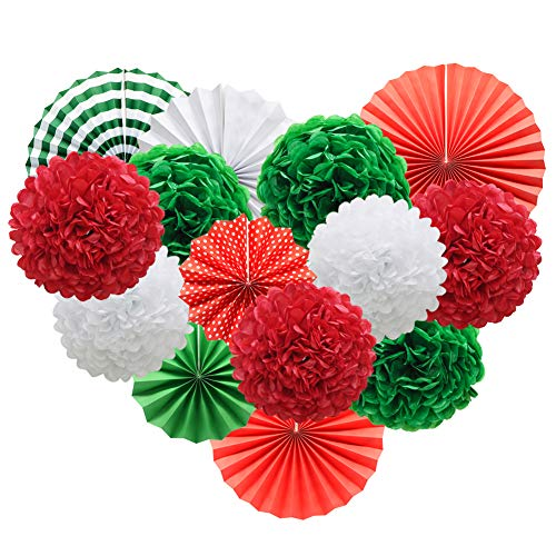 Red White Green Hanging Paper Party Decorations, Round Paper Fans Set Paper Pom Poms Flowers for Christmas Birthday Wedding Graduation Baby Shower