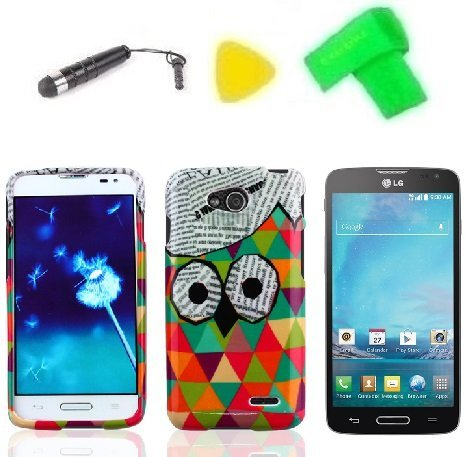 - Phone Case Cover Cell Phone Accessory + Extreme Band + Stylus Pen + LCD Screen Protector + Yellow Pry Tool for LG Optimus L90 (Cute owl)