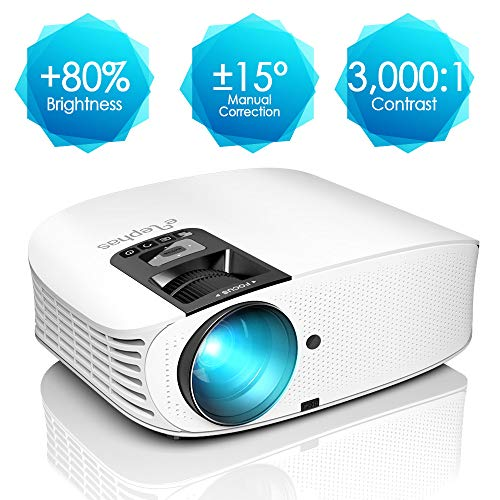 """Projector, ELEPHAS [2018 Upgraded Version] 720P 200"""" LCD Video Projector Support HDMI VGA AV USB Micro SD Ideal for Home Theater Entertainment Party and Games, White"""