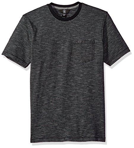 (Volcom Boys' Big Bonus Crew Short Sleeve Shirt Youth, Black S)