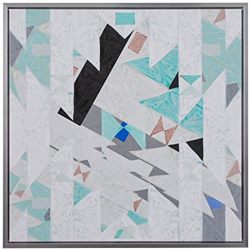 "Geometric Aqua and Black Modern Angled Canvas Print Wall Art in Silver Frame, 13.75"" x 13.75"""