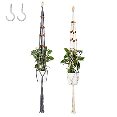 JINMING 2 Pack Plant Hanger Holder, Macrame Wall Plant Flower Pot Hanging for Indoor Outdoor, 42'' &46'' Long and 2PCS Ceiling Screw Hooks: Garden & Outdoor