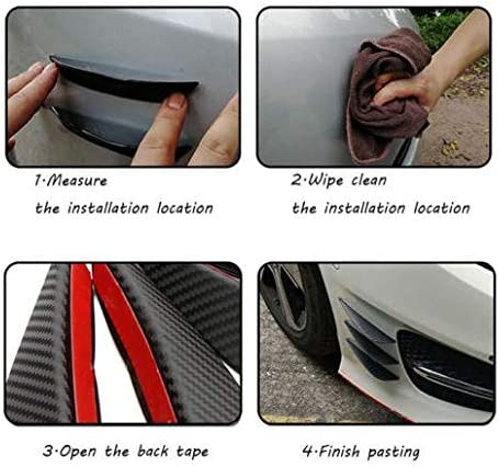 RS6 RS7 Carbon Fibre 6PCS Front Bumper Lip Spoiler Splitter Canard Valance For RS5