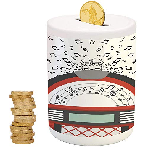Jukebox,Piggy Bank,Printed Ceramic Coin Bank Money Box for Cash Saving,Cartoon Party Music Antique Old Vintage Retro Box with Notes Artwork