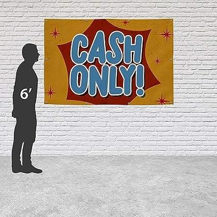 Cash Only Nostalgia Burst Heavy-Duty Outdoor Vinyl Banner CGSignLab 9x6