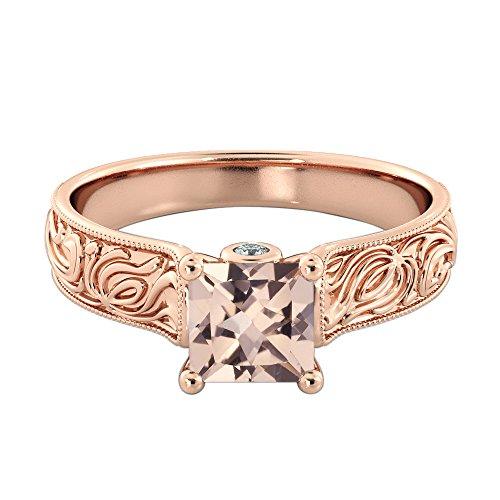 - 1.06 Carat Natural Peach/Pink VS Morganite Ring with Diamonds 14k Rose Gold Vintage Hand Engraved Art Deco