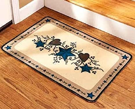 Amazon Com Country Star Heart Staircase Landing Rug Kitchen Area Accent Mat Home Decor