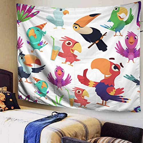 Bird Tapestry,Wall Hanging Tapestry,Capsceoll Large 80x60Inches Size of Tapestries by Parrots pattern Toucan tropical colored birds summer exotic seamless vector illustrations in cartoon Dorm Décor Ta (Coloured Tropical Bird With A Large Beak)