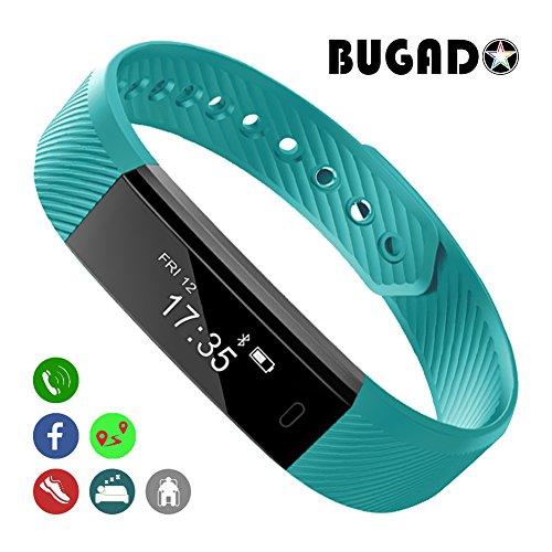 Bracelet connecté étanche muni d'un podomètre, un moniteur de sommeil, un compteur de calories, un écran tactile OLED - iOS et Android, Homme, green