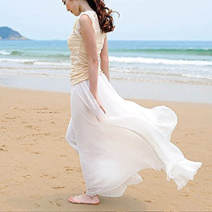 57538ea9e Amazon.com: Chiffon Long Dresses, Summer Women Long Skirts Bohemian  Shinning Casual Beach Dress (White): Home & Kitchen