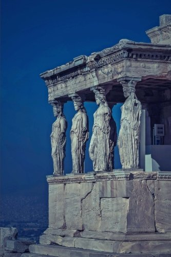A View of the Acropolis at Dusk in Athens Greece History Journal: 150 Page Lined Notebook/Diary - Acropolis View Athens Greece