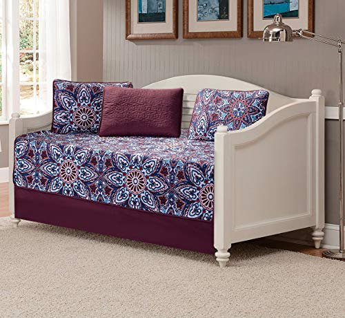 Fancy Linen 5pc Daybed Set Bed Cover with Flowers Burgundy Navy Blue Teal Red White New