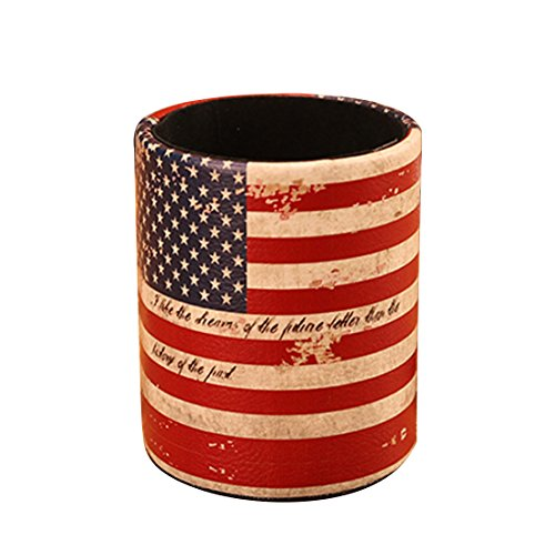 America Pen Knife - PeleusTech PU Leather Pens Pencils Holder Cup Retro Desk Organizer for Home Office Decor Container Box - (America Flag)