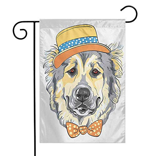 Mannwarehouse Animal Garden Flag Cartoon Art Style Animal Theme Cute Dog in Hat and Bow Tie Illustration Decorative Flags for Garden Yard Lawn W12 x L18 Pale Yellow Pale Grey