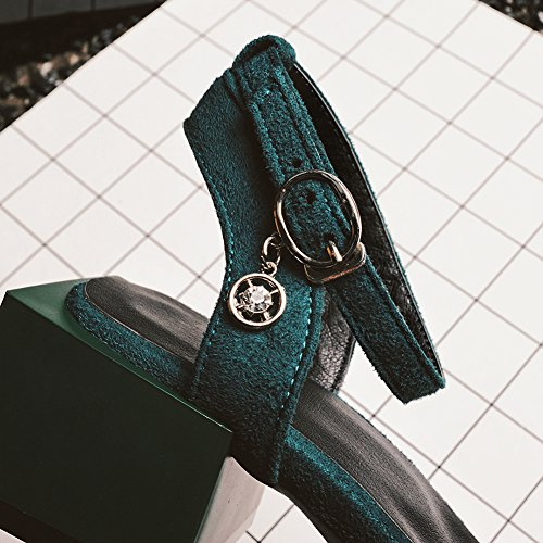 Jamron Le Pompes Des Orteil De Vert Femmes D'été Sandales Ouvrir Talon Sangle Carré Moine Doux Bloquer Flannelette gp4wqgr