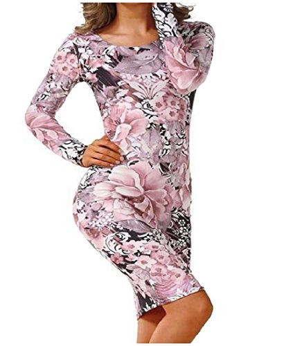 Long Mini Bodycon Printed Sleeve As1 Coolred Elegant Fit Dress Slim Womens gIX5wqxw8