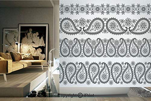 (Decorative Privacy Window Film/Winter themed Design and Lace Like Ornaments with Flowers and Snowflakes/No-Glue Self Static Cling for Home Bedroom Bathroom Kitchen Office Decor Black and White)