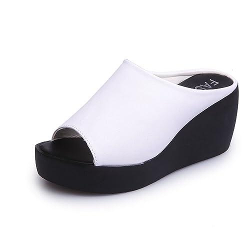 e3b516f2775a0 JITIAN Sandales Talons Hauts Compensés Chaussure de Plage Tongs Plateforme  Femme Sandale Bout Ouvert Blanc 35