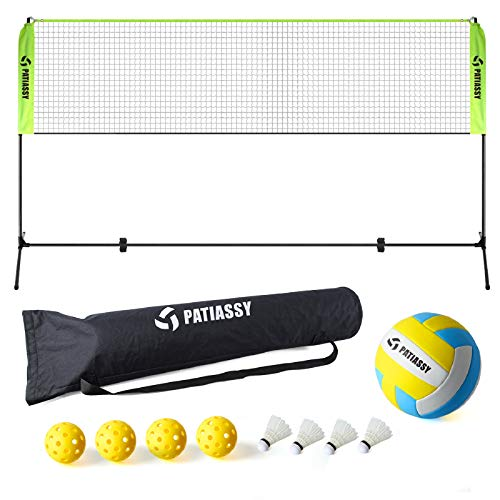 Patiassy Portable Badminton Net Set - 17ft Adjustable Height Net for Pickleball, Kids Volleyball with 4 Shuttlecocks, 4 Pickleballs and Volleyball for Indoor Outdoor Court, Backyard, Beach