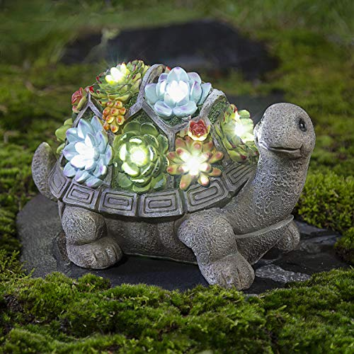 GIGALUMI Turtle Garden Figurines Outdoor Decor, All-Weather Resin Succulent Plants with 7 LEDs Outdoor Solar Statues for Garden、Lawn、Patio、Yard、Garden、Path、Walkway or Driveway.