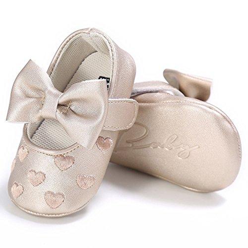 hibote Bebé recién nacido Princesa de cuero suave Big Bowknot Toddler Prewalker Shoes Red 6-12M oro