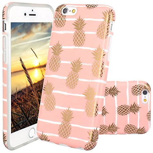 iPhone 6 Case, iPhone 6S Case, JAHOLAN Shiny Gold Pineapple Baby Pink Design Clear Bumper TPU Soft Rubber Silicone Cover Phone Case for Apple iPhone 6 6S