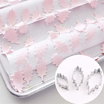 Gessppo _ Home and Kitchen 3 Pieces Set Holly Leaf Shape Cookie Stainless Steel Cake Mold