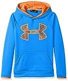 Under Armour Boys' Armour Fleece Big Logo Hoodie,Mako Blue (983)/Magma Orange, Youth Medium