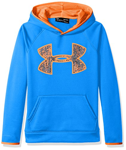 Blue Big Logo Hoodie - Under Armour Boys' Armour Fleece Big Logo Hoodie,Mako Blue (983)/Magma Orange, Youth X-Large