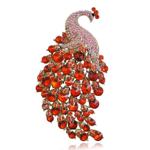 EVER FAITH Womens Austrian Crystal 4 Inch Elegant Peacock Animal Brooch