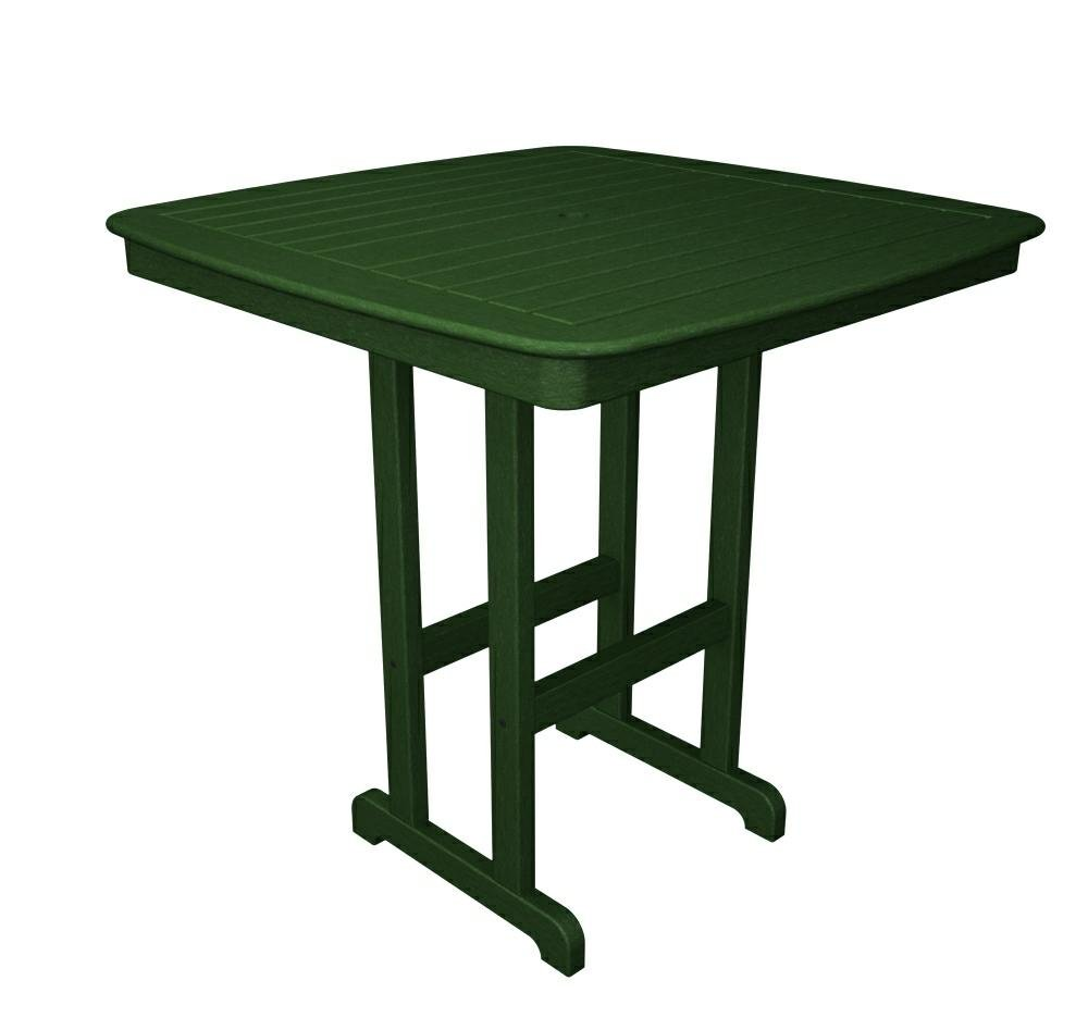 Polywood outdoor furniture nautical 44 inch bar table mahogany recycled plastic materials