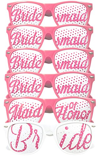 Dirty Old Man Costume Ideas (Bridal Bachelorette Party Favors - Wedding Kit - Bride & Bridesmaid Party Sunglasses - Set of 6 Pairs - Go Selfie Crazy - Themed Novelty Glasses for Memorable Moments & Fun Photos (6pcs, White & Pink))