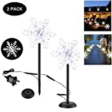 Outdoor Garden Lights Snowflake Waterproof LED Spotlight Outside Path Lights for Patio Driveway Yard Landscape Wall Pathway Garden Decor [2 Pack]