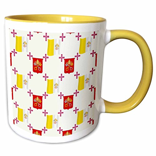 3dRose 777images Country Patterns - The flag and Coat of Arms of the Vatican City State on a light creme background - 15oz Two-Tone Yellow Mug (mug_114180_13)