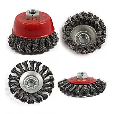 SODIAL(R) 4Pcs M14 Crew Twist Knot Wire Wheel Cup Brush Set For Angle Grinder