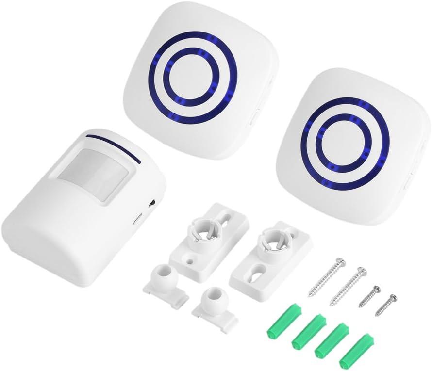 Inalámbrica Detector Diario de timbre sensor de infrarrojos de movimiento Alarma Alarma con receptor y emisor 38Chime Tunes LED Indicadores