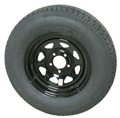 eCustomRim Trailer Tire and Rim Radial ST205/75R14D 14X5.5 5-4.5 Black Spoke 3.19CB