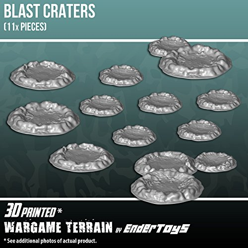 EnderToys Blast Craters, Terrain Scenery for Tabletop 28mm Miniatures Wargame, 3D Printed and Paintable