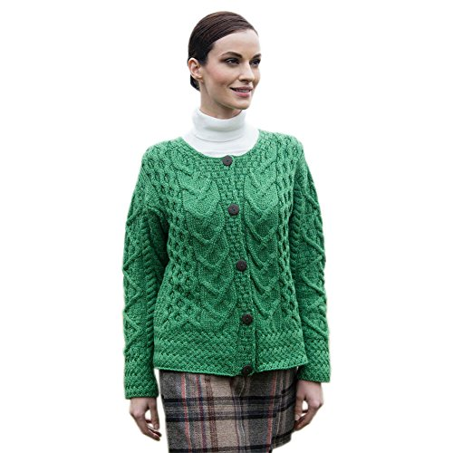 Women's Irish Wool Sweater, Cardigan Style, Green, XL (Fisherman Sweater Irish Cardigan)