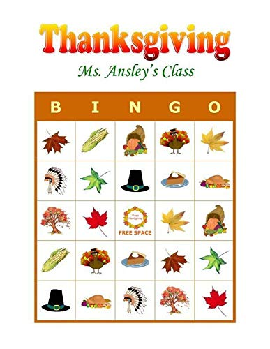 Thanksgiving Party Game & Activity Bingo -