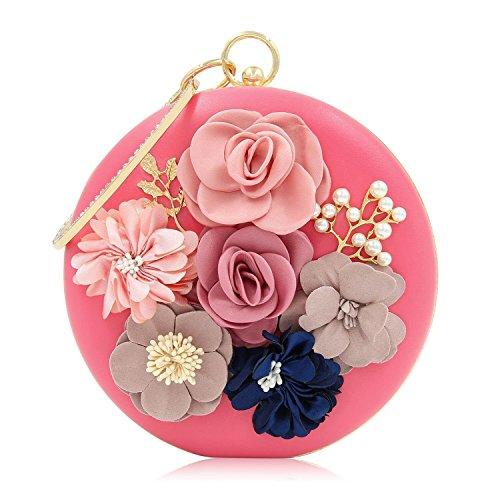 FFLLAS Round Mano-Pull Fiore Bead Ricamo Cena Pacchetto Di Alta Qualità Diamante Perla Pacchetto Serale,Pink Pink