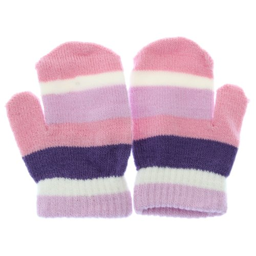 Striped Gloves Nylon (Childrens/Kids Little Girls Striped Winter Magic Mittens (One Size) (Pink/Purple))