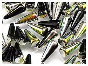 12pcs Checa Perlas de Cristal Spike 5x 13mm Jet Vitrail