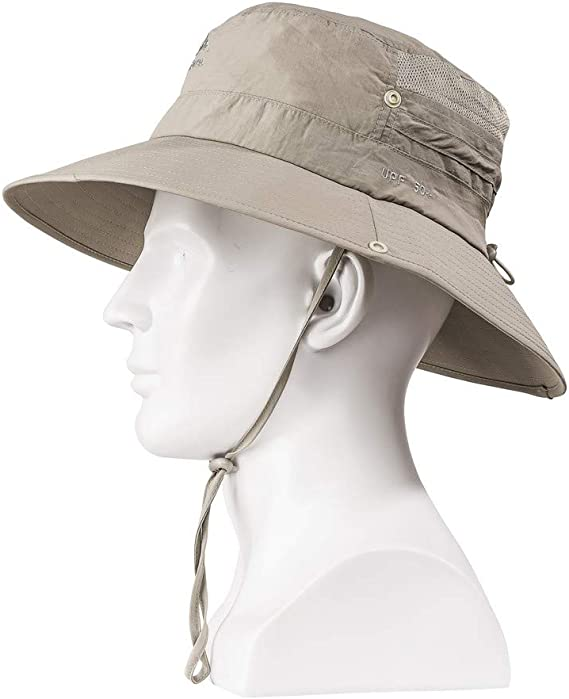 Renlinwell Fashion Summer Outdoor Sun Hat Bucket Mesh Boonie Hat Drying Fishing Gray