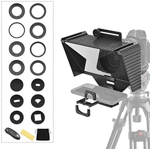 ETE ETMATE Teleprompter con función de control remoto, apto para smartphones, tabletas, cámaras réflex digitales, trípodes de escritorio y adaptadores de quevedos, transmisión en vivo, Vlog, Youtube